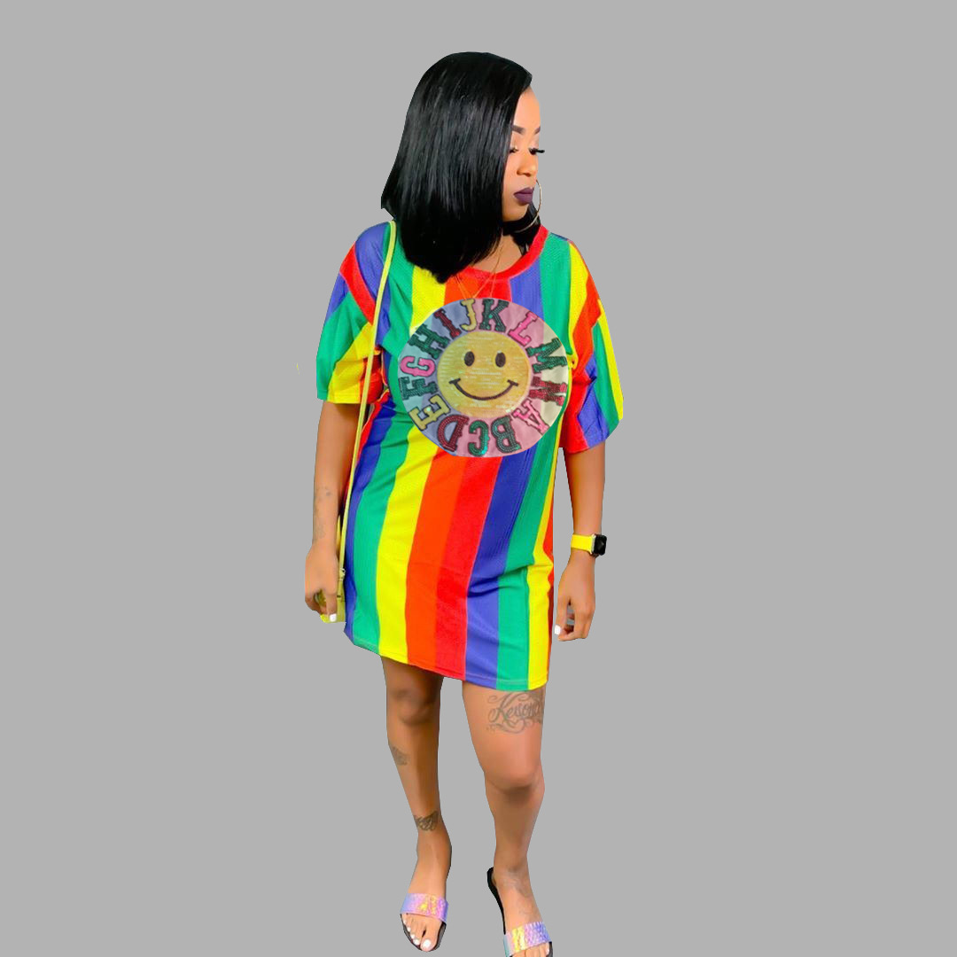 Colorful Sequins Printed Loose t Shirt Dress