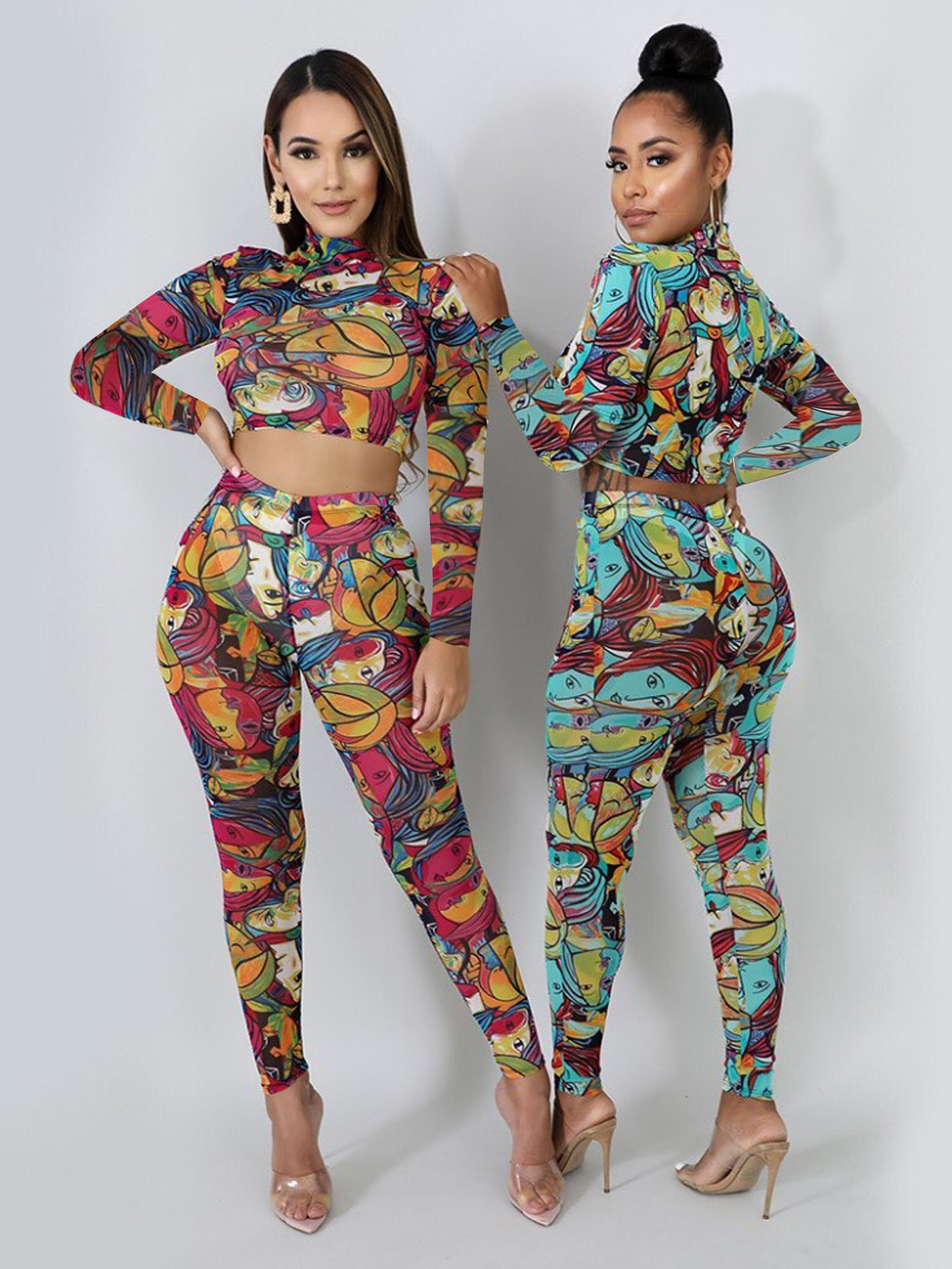 Cartoon Printed Cropped Two Piece Sets Women