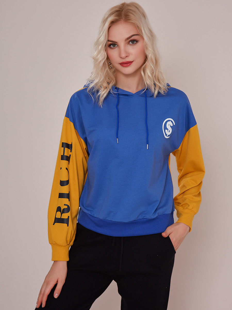 Contrast Color Letter Casual Pullover Hoodie
