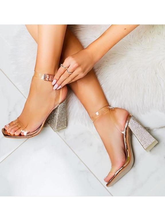 Rhinestone Perspective Chunky Heel Sandal