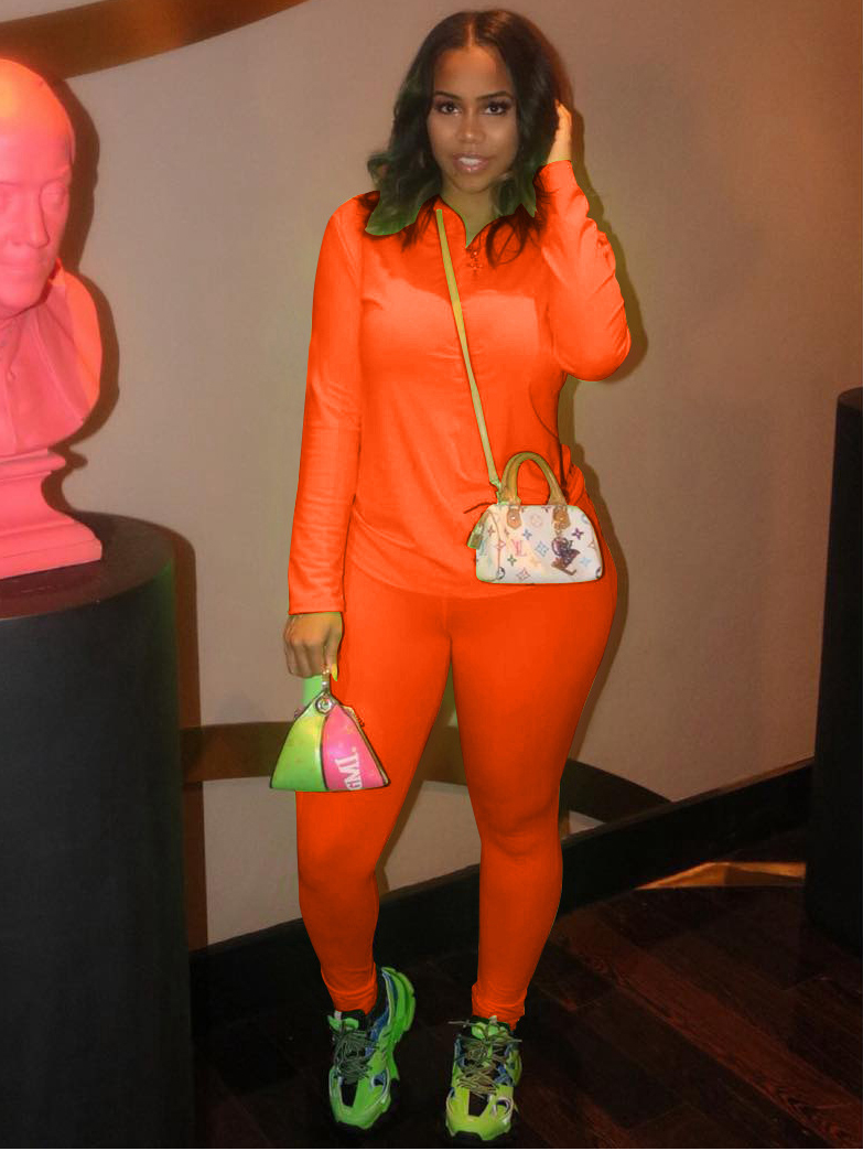 Sporty Solid Zipper Up Long Sleeve 2 Piece Outfits