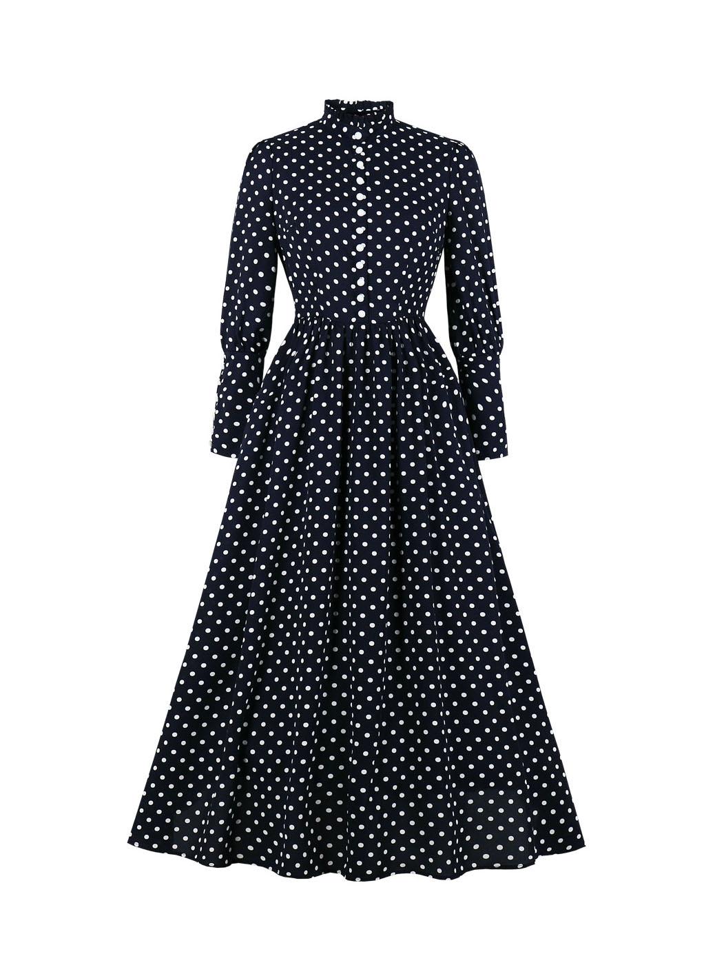 Mock Neck Long Sleeve Polka Dot Maxi Dress