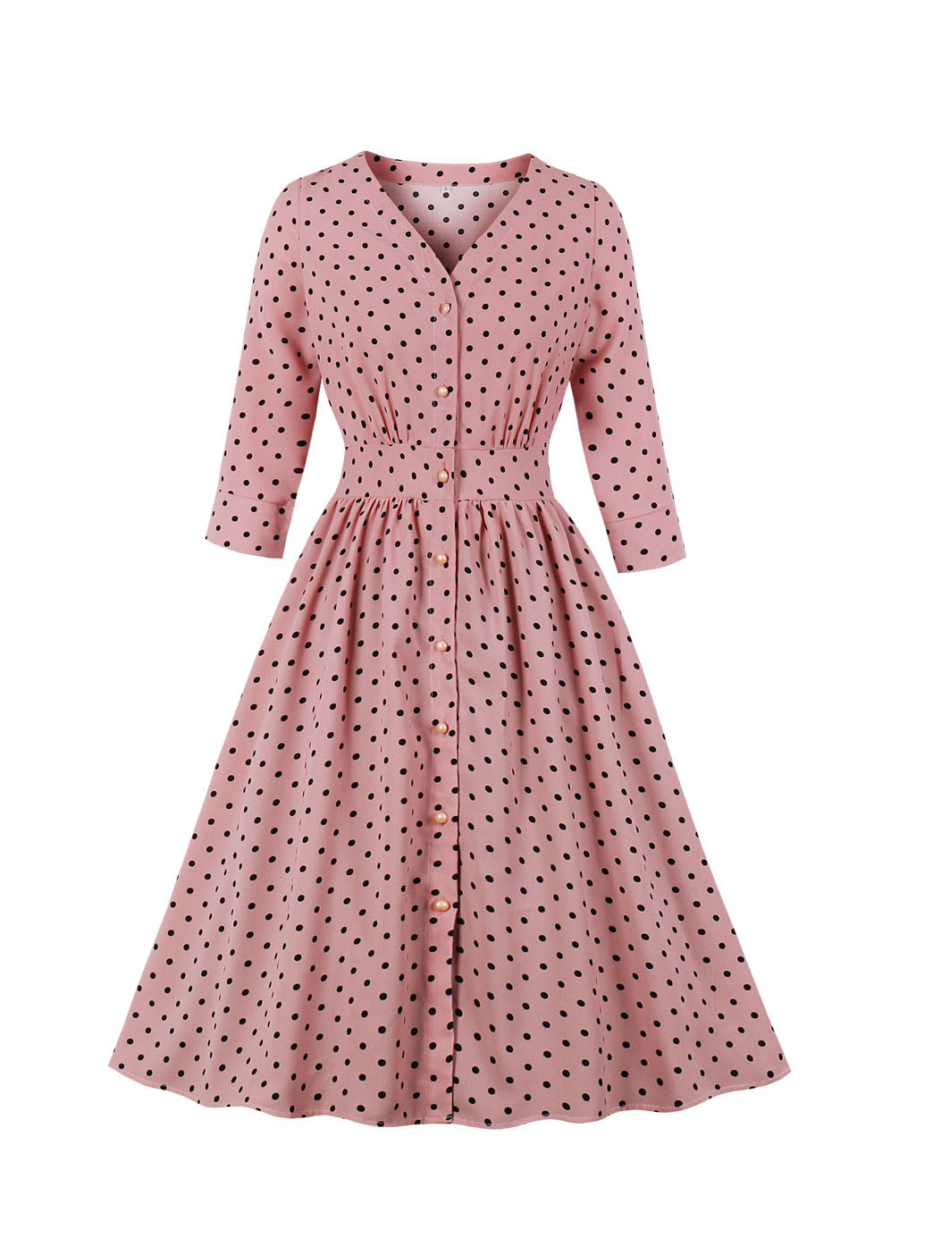 Fall Fitted Pink Long Sleeve Polka Dot Dress