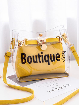 Chic Transparent Letter Printed 2 Piece Shoulder Bag