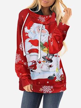 Christmas Cartoon Printed Red Hoodie