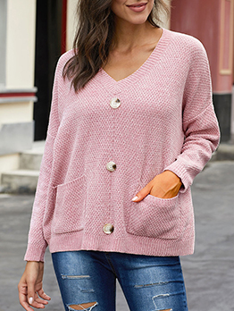 Pockets Button Decor Loose Pullover Sweater