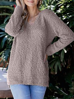 Pure Color Split Loose Knit Sweater