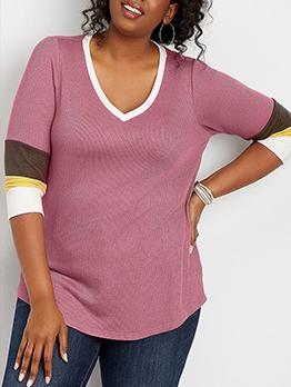 Contrast Color Three Quarter Sleeve Plus Size Shirt