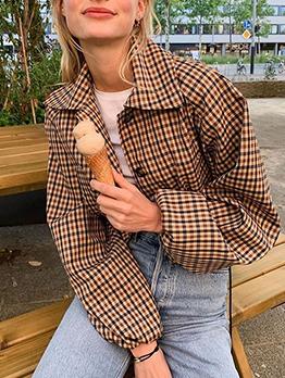 Tuendown Collar Long Sleeve Plaid Cropped Ladies Coat