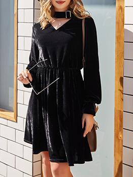 Solid v Neck Black Long Sleeve Dress