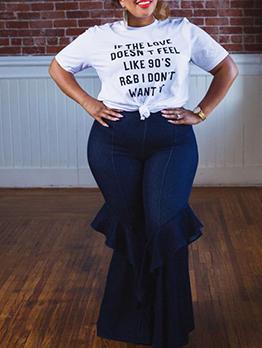 Plus Size Mid Waist Solid Color Women Flare Jeans