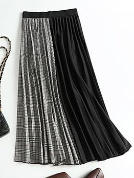 Stitching Color Plaid Elastic Waist Pleated Skirt