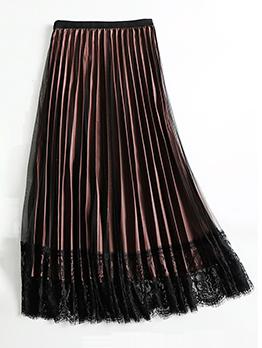 Mid Calf Length Lace Hem Women Pleated Skirt