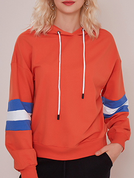 Contrast Color Striped Casual Pullover Hoodie