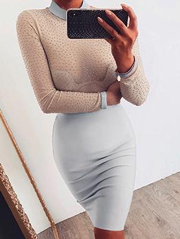 Tulle Rhinestone Slim Patchwork Sexy Dress