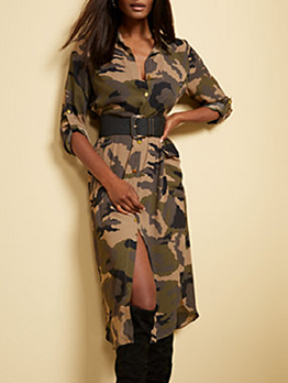Casual Camouflage Roll Up Sleeve Midi Dress