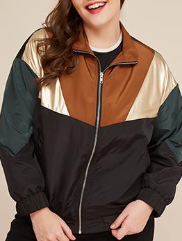 Contrast Color Long Sleeve Zipper Up Plus Size Coats