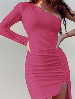 Inclined One Shoulder Ruched Dresses For Women