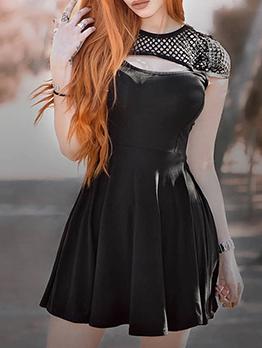 Mesh Patchwork Pleated Black Short Sleeve Dress