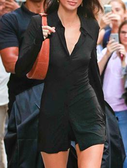 Versatile Black Long Sleeve Shirt Dress