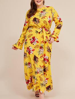 Ruffle Hem Floral Tie-Wrap Plus Size Maxi Dress