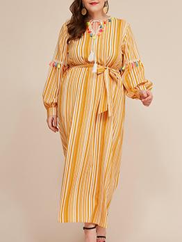 Colorful Tassel Striped Yellow Plus Size Maxi Dress