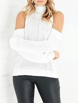 High Neck Cold Shoulder Solid Knit Sweater