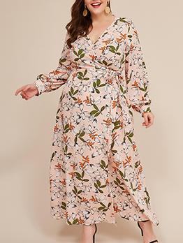 V Neck Leaves Printed Tie-Wrap Plus Size Maxi Dress