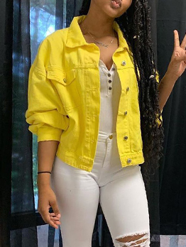 Chic Turndown Collar Yellow Denim Jacket