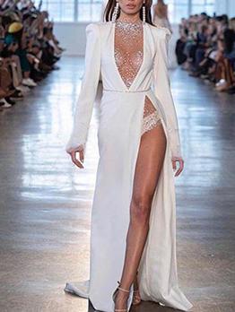 Deep V Neck High Split Hem Chiffon Formal Dresses