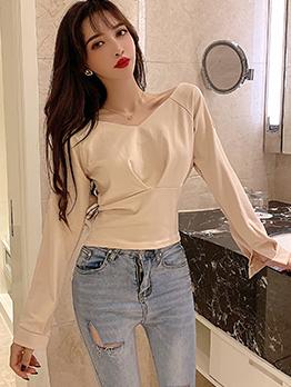 V Neck Split Sleeves Solid Color Cotton T Shirt
