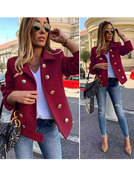 Solid Double Breasted Turndown Collar Winter Coats