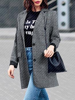 Retro Long Sleeve Plaid Blazer