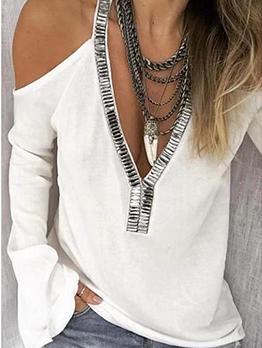 Cold Shoulder Deep V Neck Sequin Plus Size T Shirt