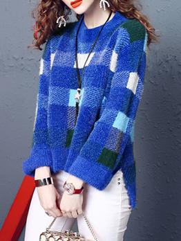Trendy Contrast Color Plaid Crew Neck Sweater