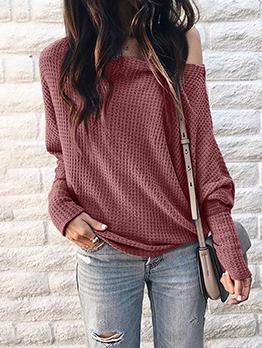 Autumn Inclined Shoulder Solid Color Plus Size T Shirt