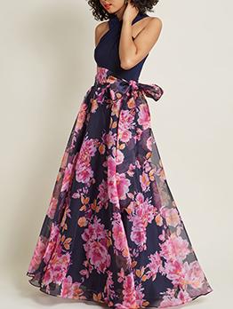 Off Shoulder Sleeveless Chiffon Floral Maxi Dress