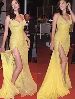 High Split Hem Glitter Straps Gold Evening Dress