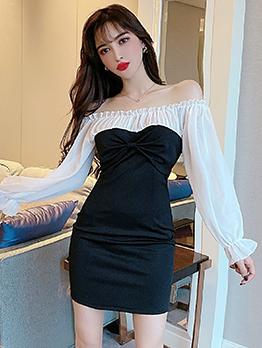 Boat Neck White And Black Chiffon Long Sleeve Dress