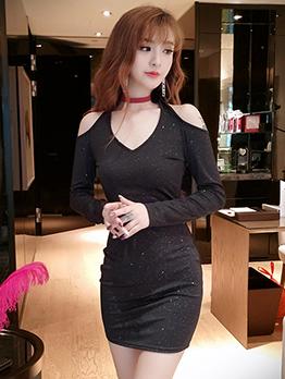 Cold Shoulder Glitter Black Long Sleeve Bodycon Dress
