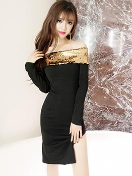 Golden Sequin Long Sleeve Off The Shoulder Dress