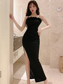 High Split Hem Black Sleeveless Maxi Dress