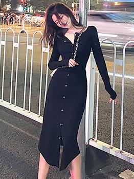 Crew Neck Single-Breasted Black Midi Dress