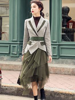 Boutique Plaid Blazer With Irregular Solid Gauze Midi Skirt