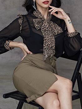 Tie Neck Leopard Print Perspective Tulle Ladies Blouse