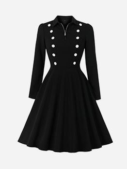 Turndown Neck Fitted Large Hem Little Black Dress