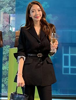 Ol Style Lapel Collar Single Breasted Black Blazer