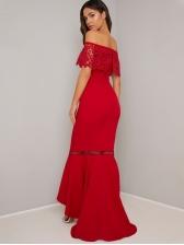 Boat Neck Fishtail Hem Lace Panel Red Evening Dress