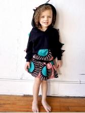 Contrast Color Dinosaur Shape Two Piece Skirt Set For Girls