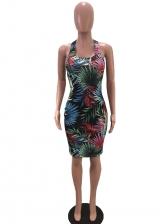 Back Criss Cross Botanic Print Sexy Dress
